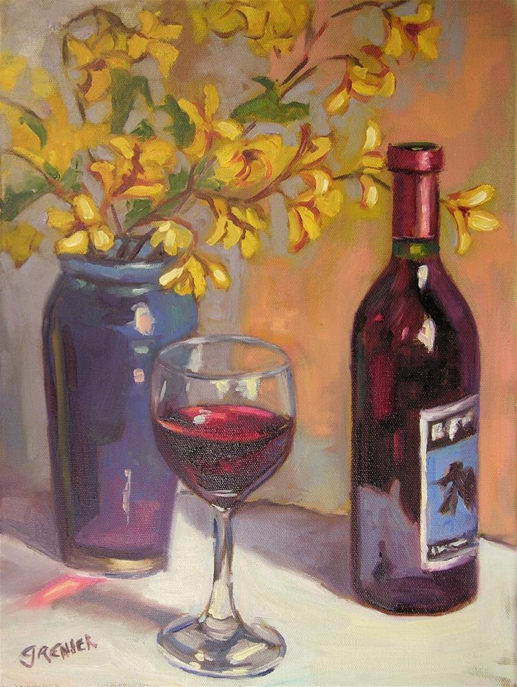 """Original Oil Painting Red Wine Bottle w Glass Yellow Flowers Still Life 12X16"" original fine art by jean grenier"