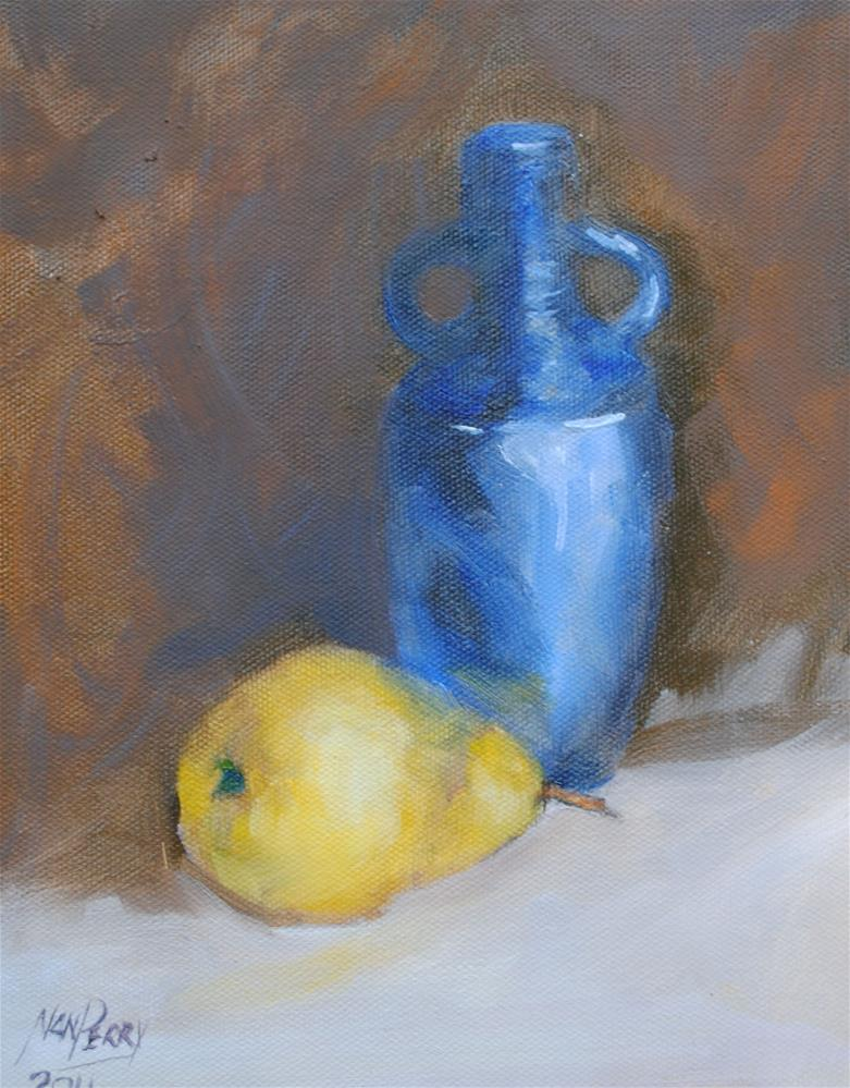 """""""Blue Vase and Pear"""" original fine art by Nan Perry"""