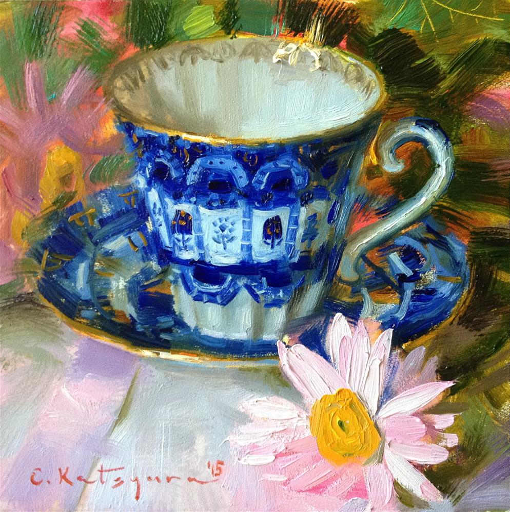 """Teacup and Pink Daisy"" original fine art by Elena Katsyura"