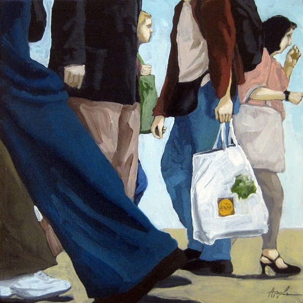 """People on city street figurative urban art"" original fine art by Linda Apple"