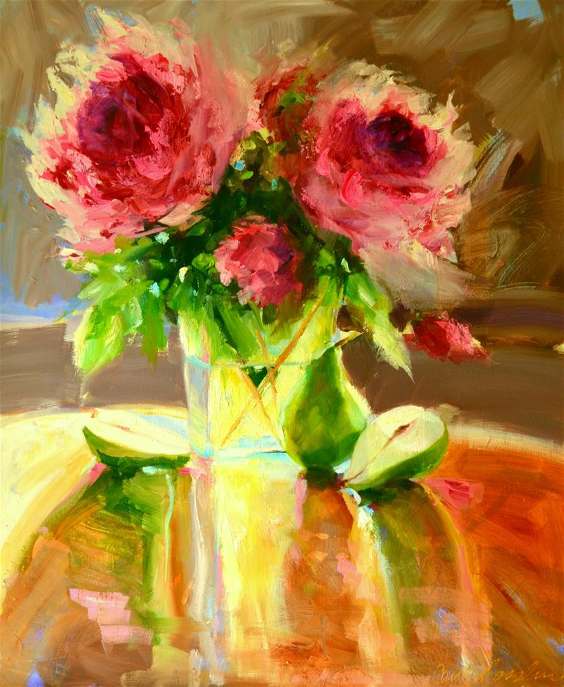"""PEARS AND PEONIES"" original fine art by Cecilia Rosslee"