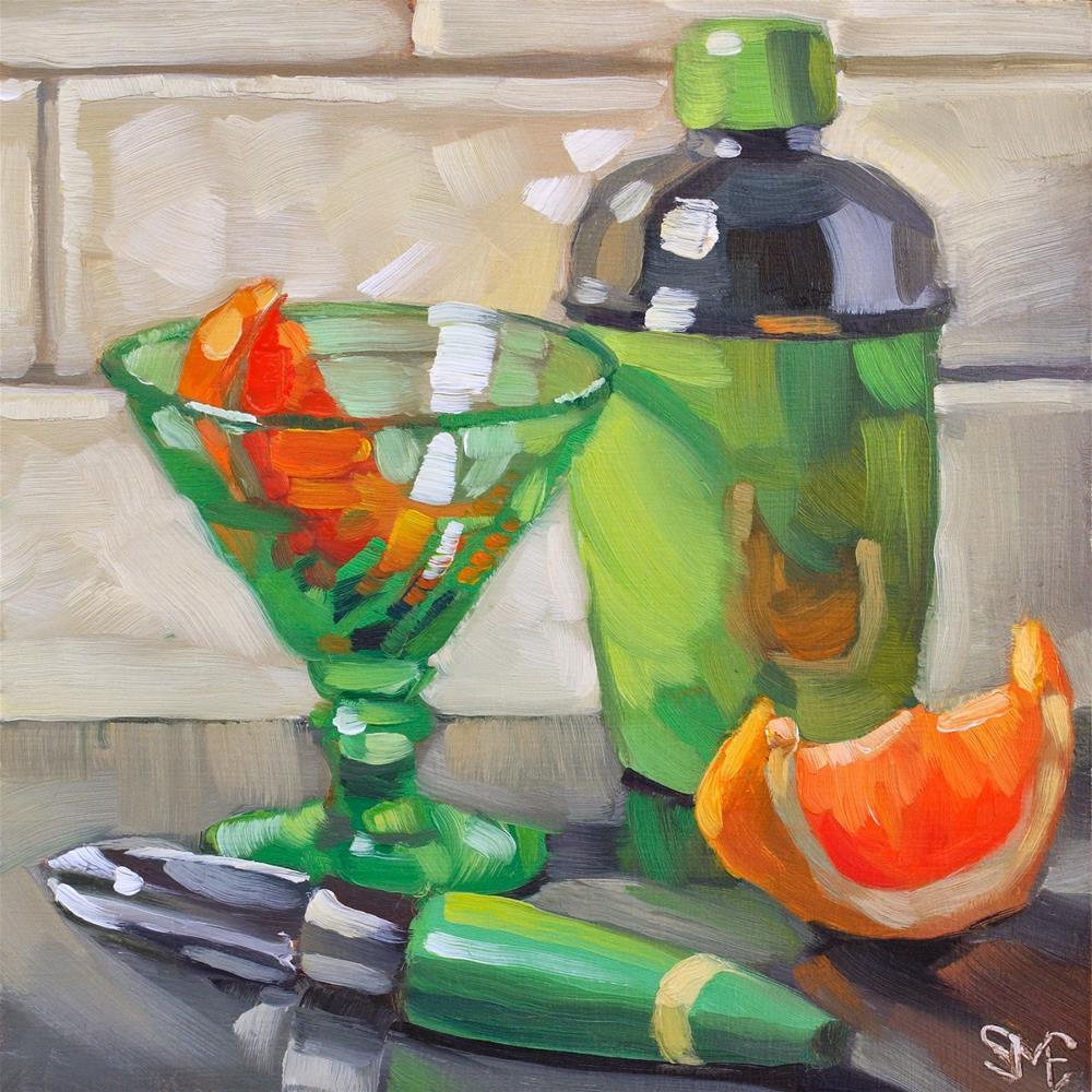 """""""Green Grapefruit Martini"""" original fine art by Sheila Evans"""