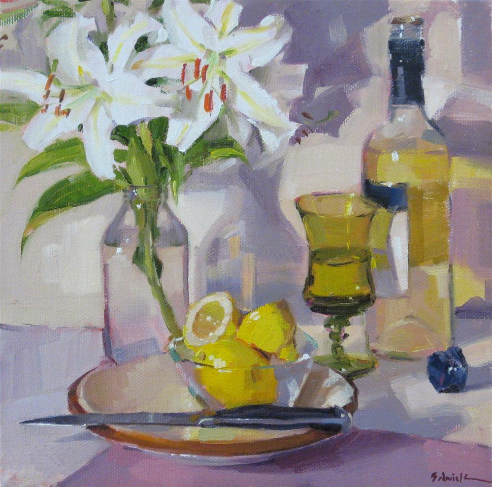 """White Lilies and Wine floral flower painting still life wine fruit lemons art daily painting"" original fine art by Sarah Sedwick"