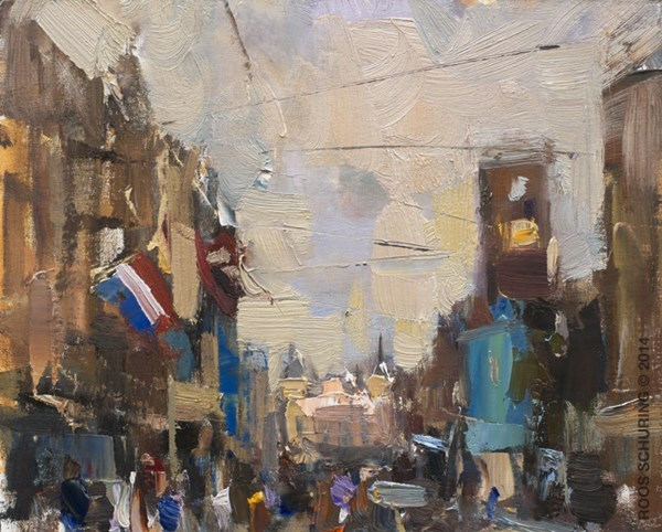 """CA02-2014 Schuring Cityscape Amsterdam Dam Square"" original fine art by Roos Schuring"