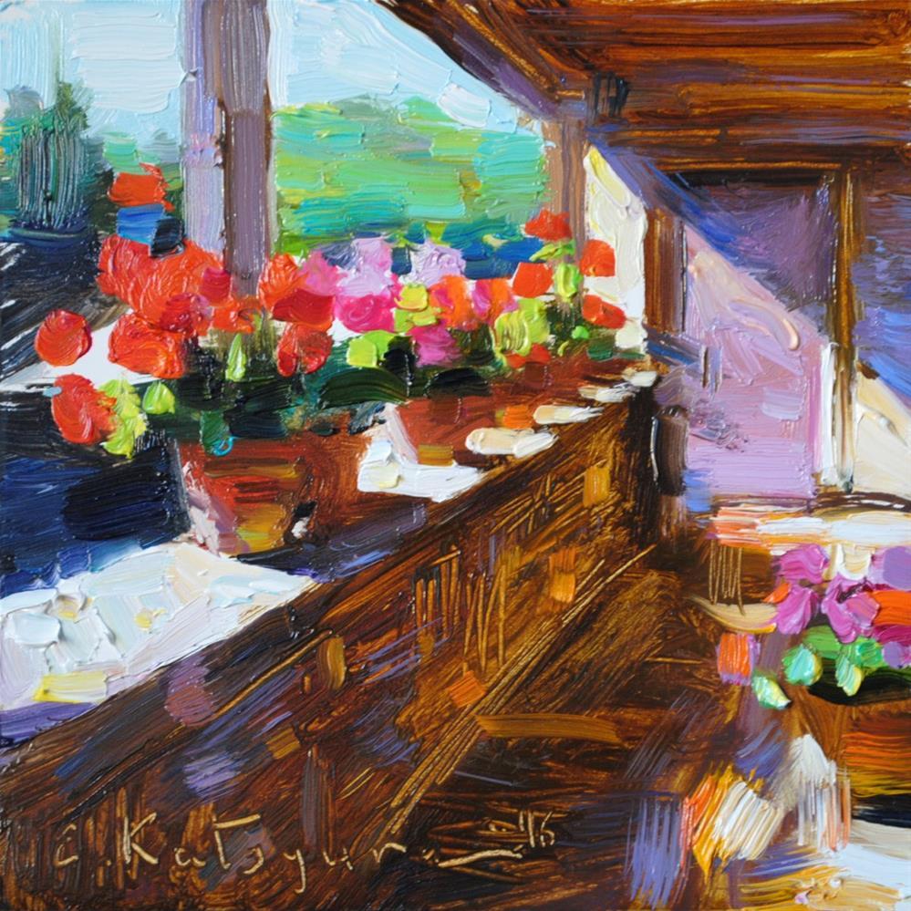"""Sunlit Balcony"" original fine art by Elena Katsyura"