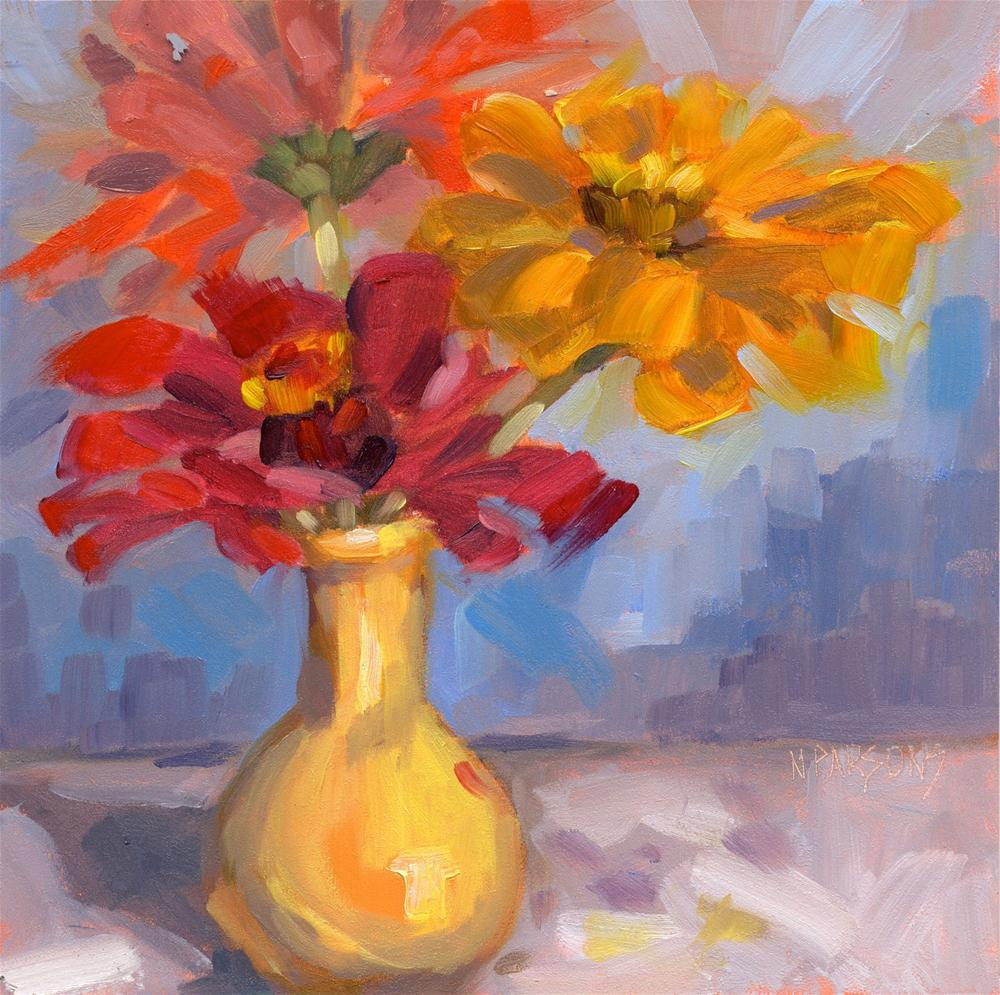 """Z-Zinnia Tops"" original fine art by Nancy Parsons"