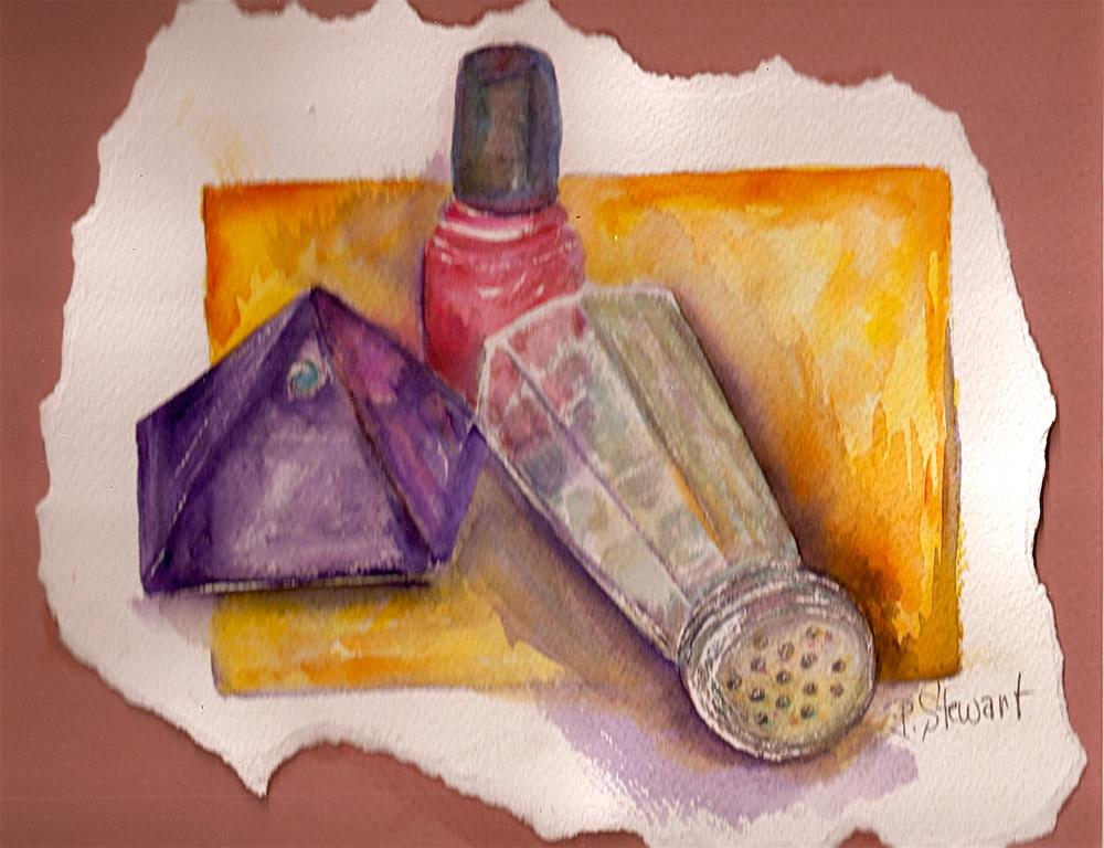 """""""8x10 Still Life matted to 11x14 Nailpolish Glass Objects Painting Penny StewArt"""" original fine art by Penny Lee StewArt"""