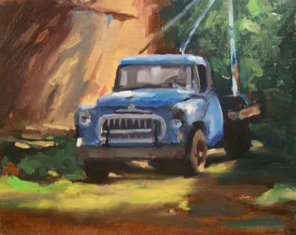 """"""" OLD BLUE TOW TRUCK"""" original fine art by Doug Carter"""