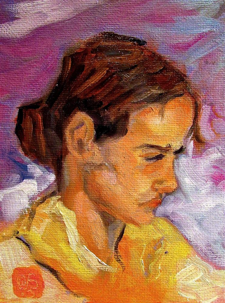 """""""Pescadora"""" original fine art by Aurelio Saiz"""