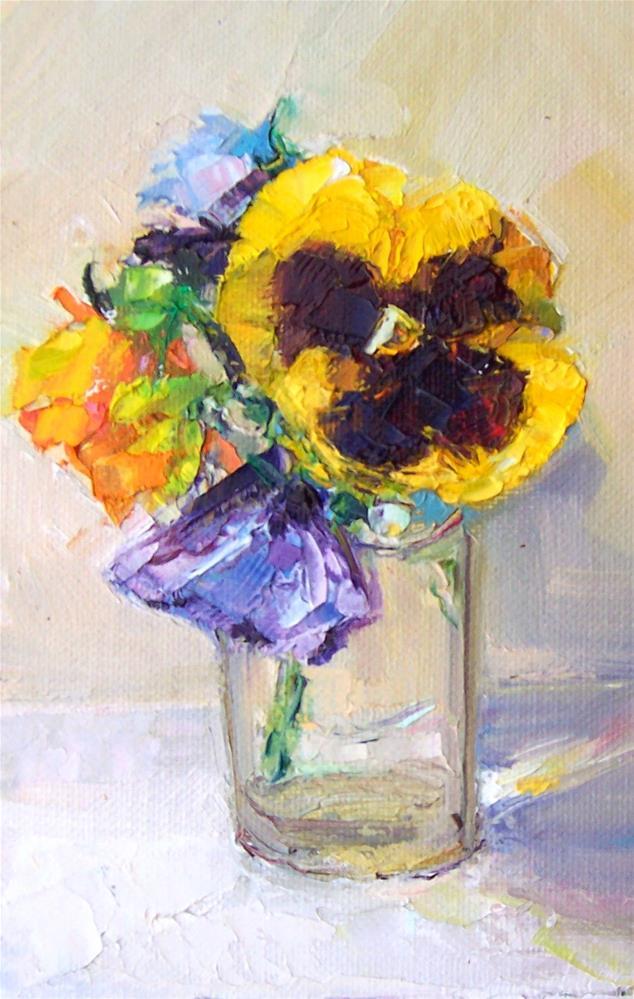 """Pansies in glass.still life,oil on panel,7x5 price$200"" original fine art by Joy Olney"