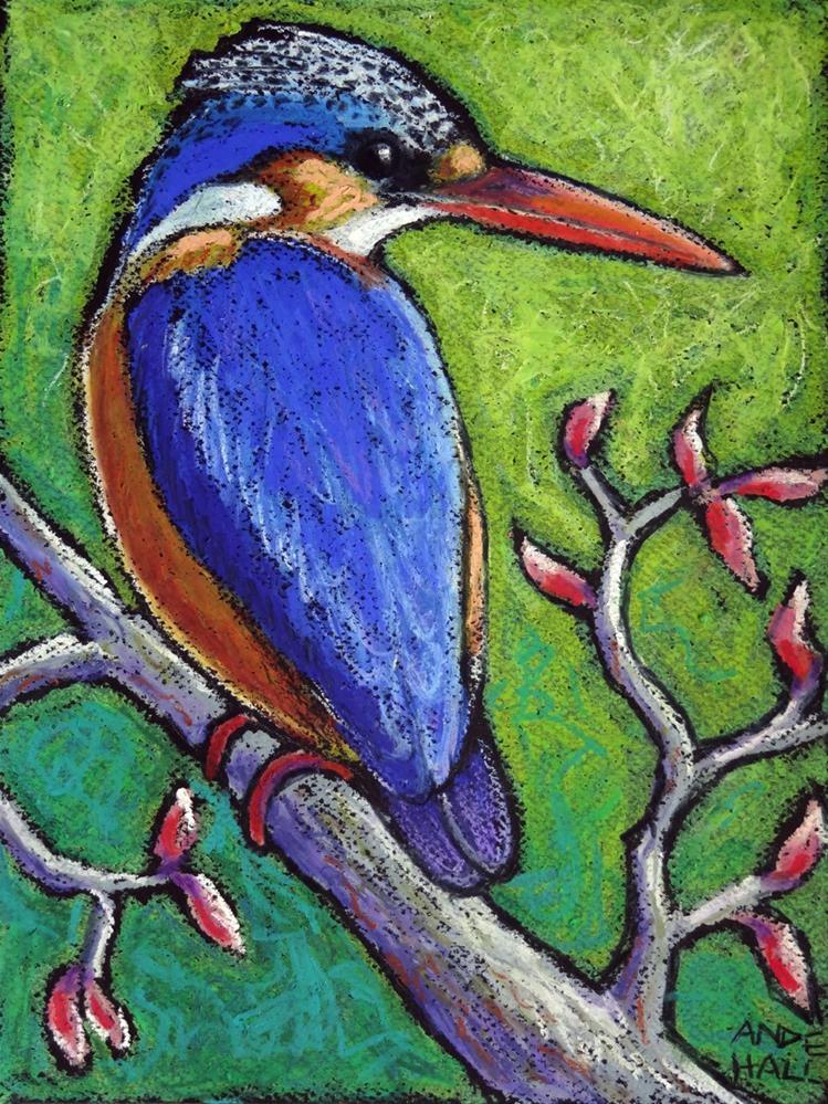 """Malachite Kingfisher"" original fine art by Ande Hall"
