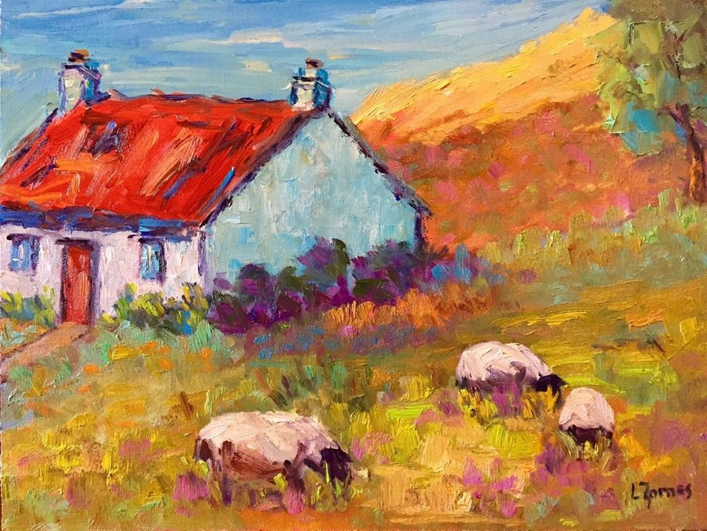 """Isle of Skye Cottage with Sheep"" original fine art by Liz Zornes"