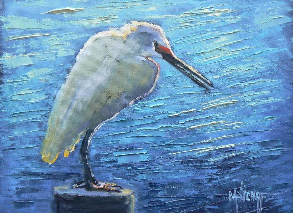 """Wildlife Painting, Daily Painting, Painting for Sale, Fishing Egret, 6x8 Oil"" original fine art by Carol Schiff"