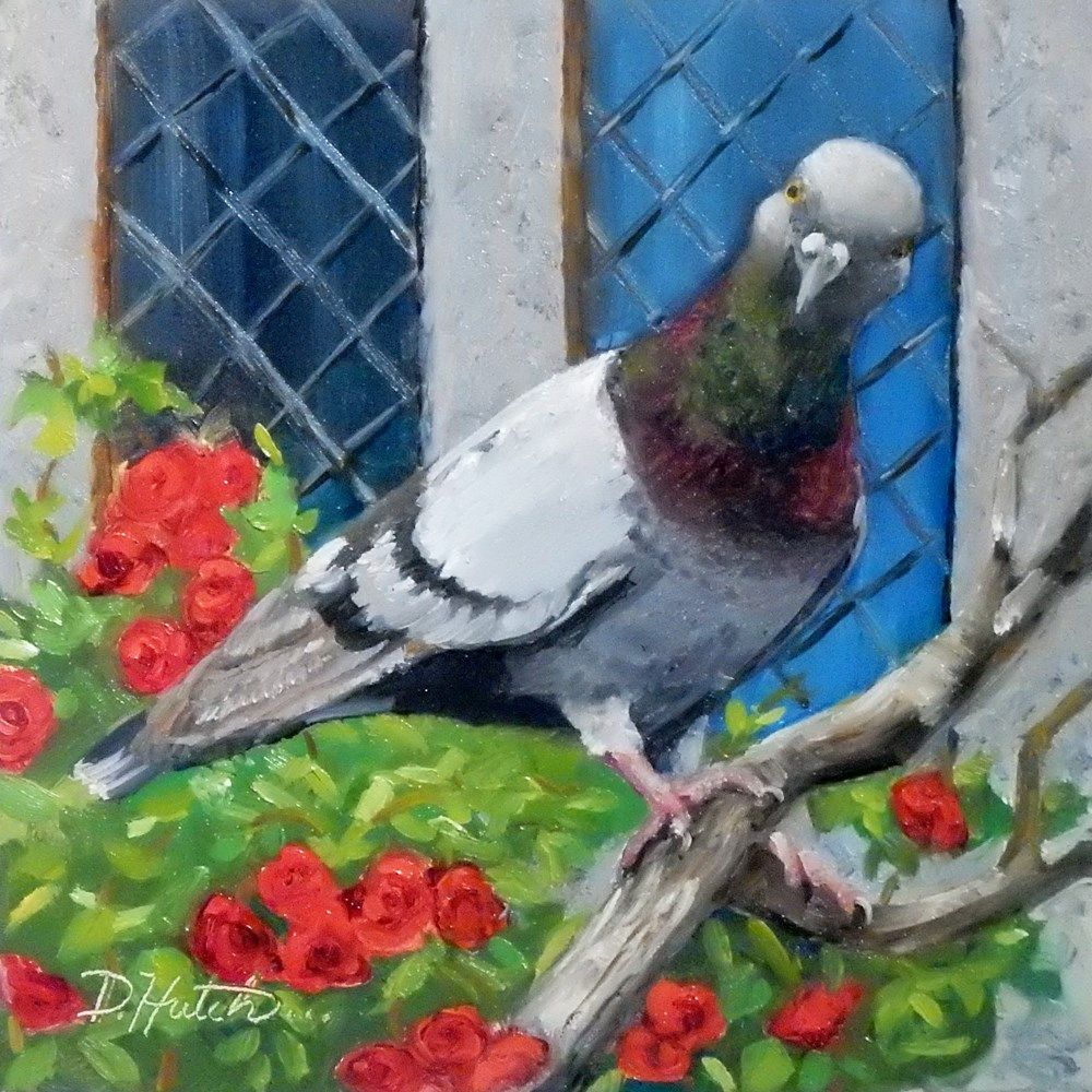 """Pigeon with Wild Roses"" original fine art by Diane Hutchinson"