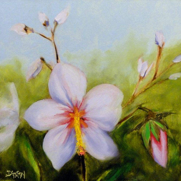 """Marsh Mallow Bloom"" original fine art by Dalan Wells"