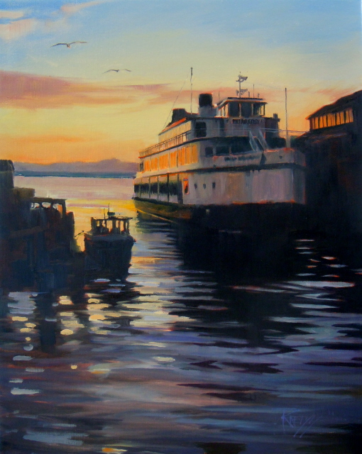 """The Argosy  Seattle waterfront, oil painting"" original fine art by Robin Weiss"