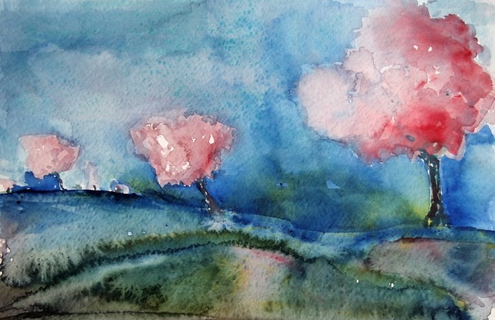 """Cherry Trees"" original fine art by Amy Bryce"