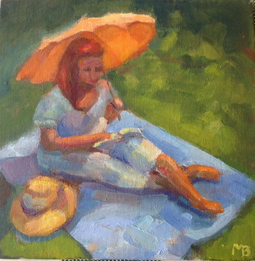 """Girl With the Orange Umbrella"" original fine art by Marcia Bergtholdt"