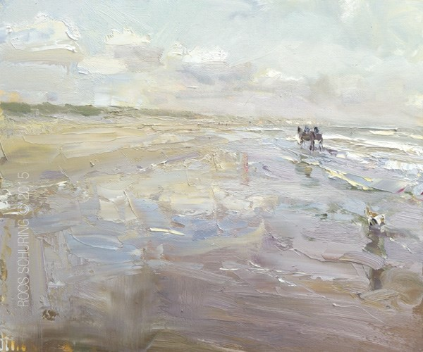 """Big Seascape Pleinair ""Morning Light – Dutch Beach, Horses, Dog"""" original fine art by Roos Schuring"