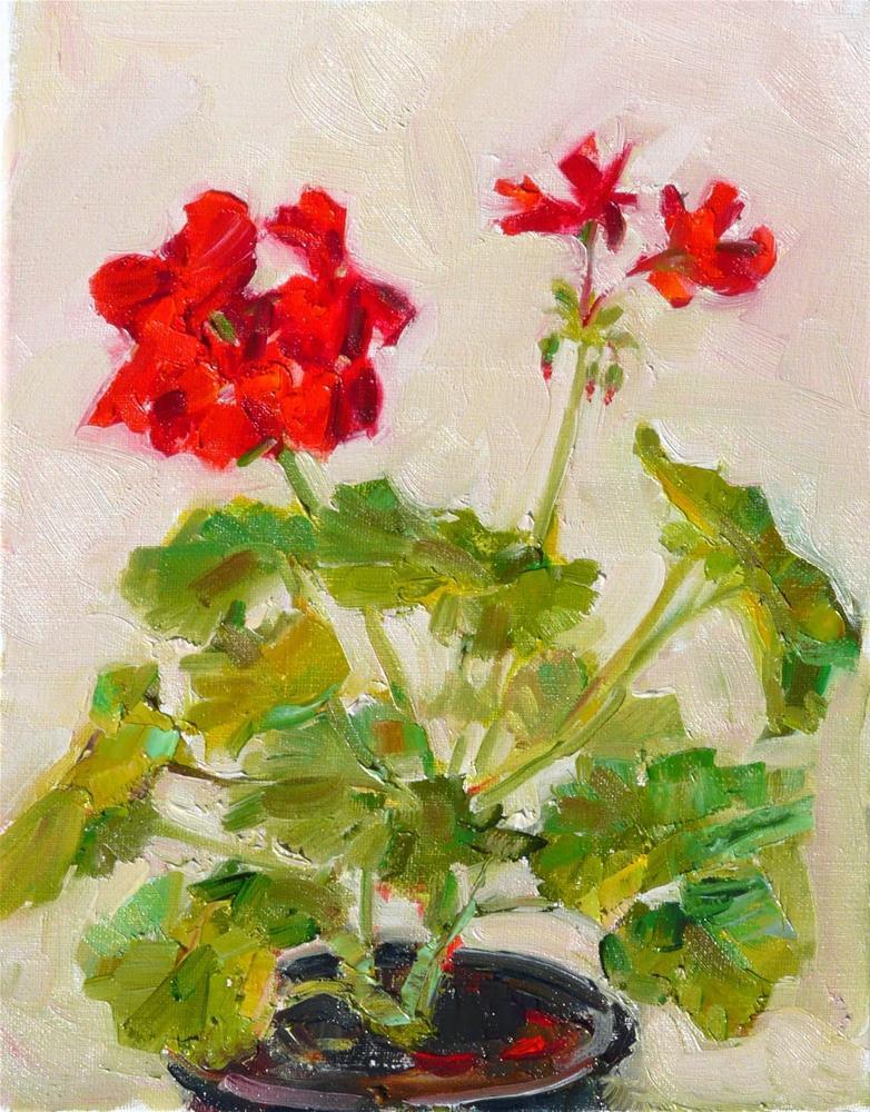 """Geranium #6,still life,oil on linen,10x8,price$200"" original fine art by Joy Olney"