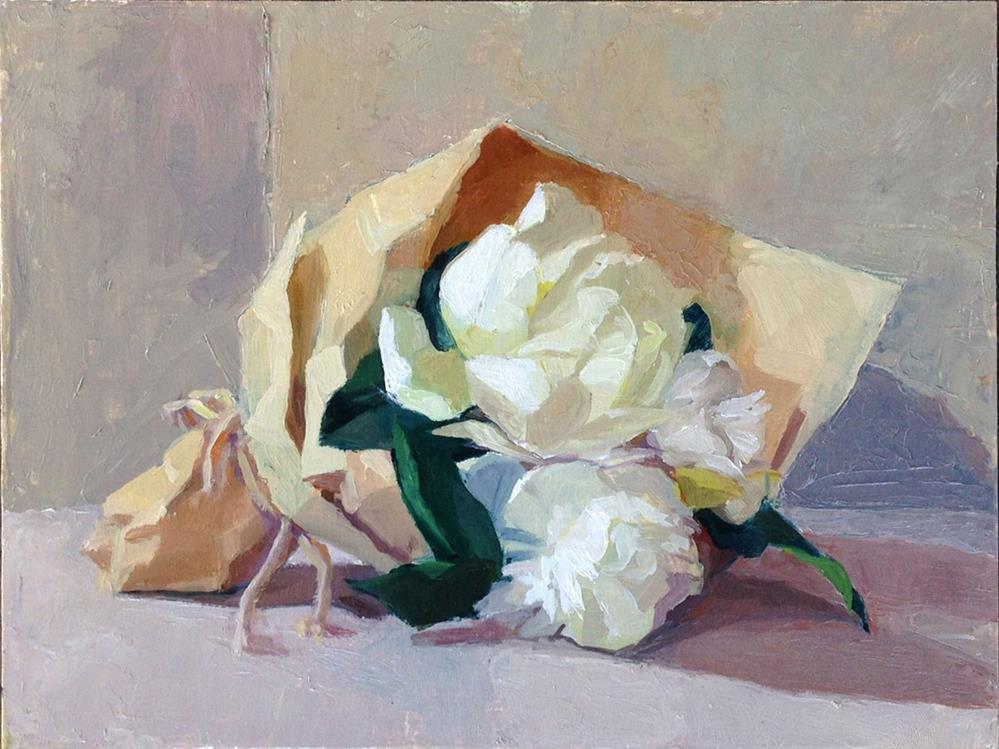 """Small Peony Posy in the morning"" original fine art by Myriam Kin-Yee"