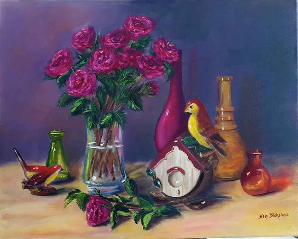 """""""Roses and Birdhouse"""" original fine art by Sissy Blakslee"""