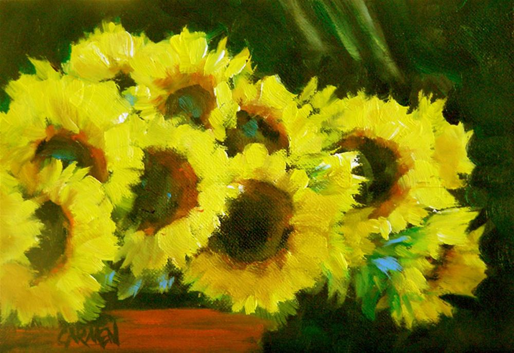 """Bucket of Sunflowers, 7x5 Oil on Canvas"" original fine art by Carmen Beecher"