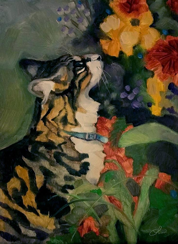"""Cat and Bouquet"" original fine art by Leni Tarleton"