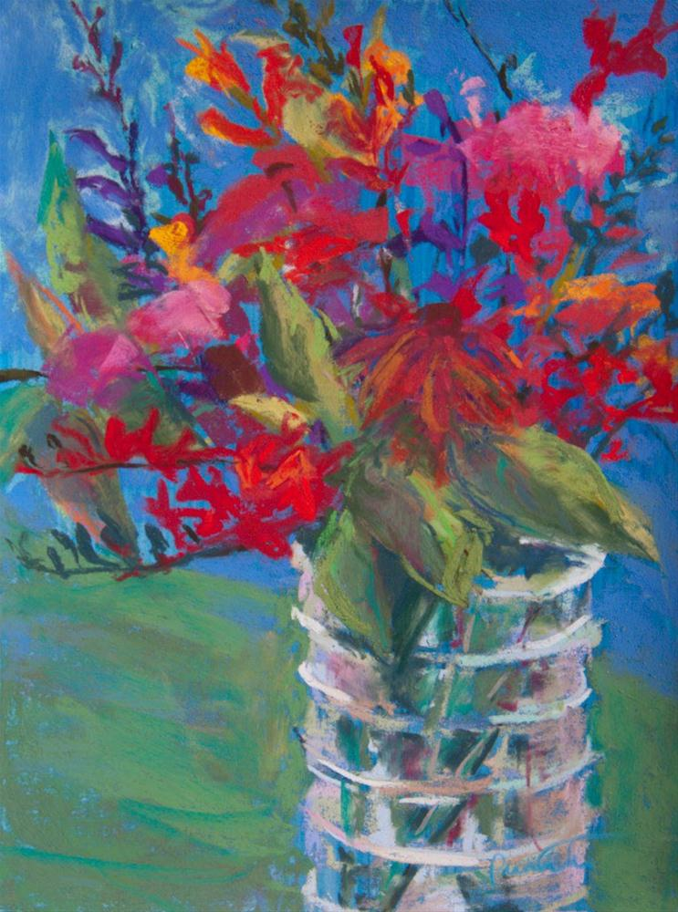 """Bouquet in a Ribbed Vase"" original fine art by Sarah Peroutka"