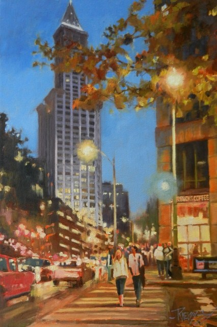 """Smith Tower Magic Seattle city oil painting by Robin Weiss"" original fine art by Robin Weiss"