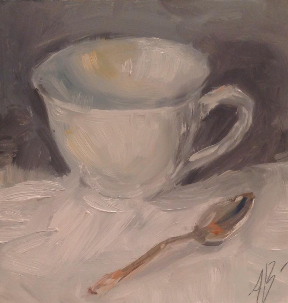 """White cup with spoon"" original fine art by Annette Balesteri"