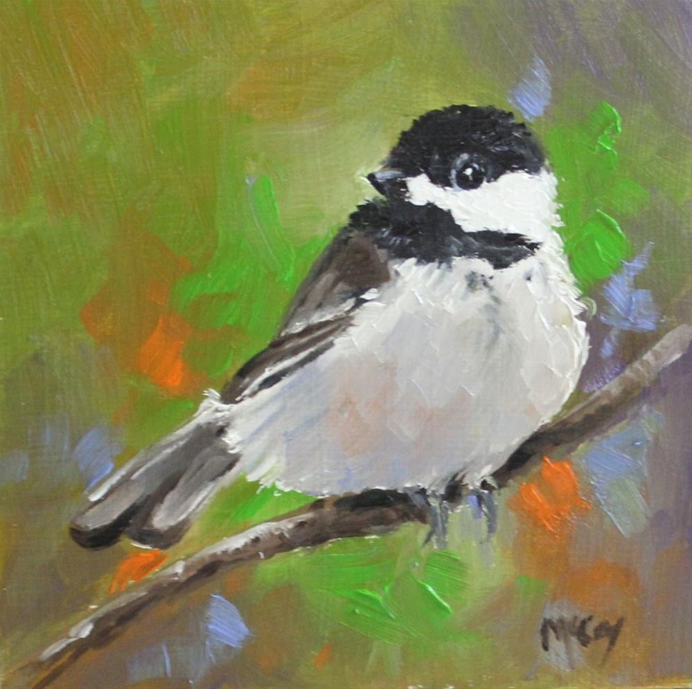 """Where's Mom? 4x4 Chickadee Oil Painting"" original fine art by Linda McCoy"