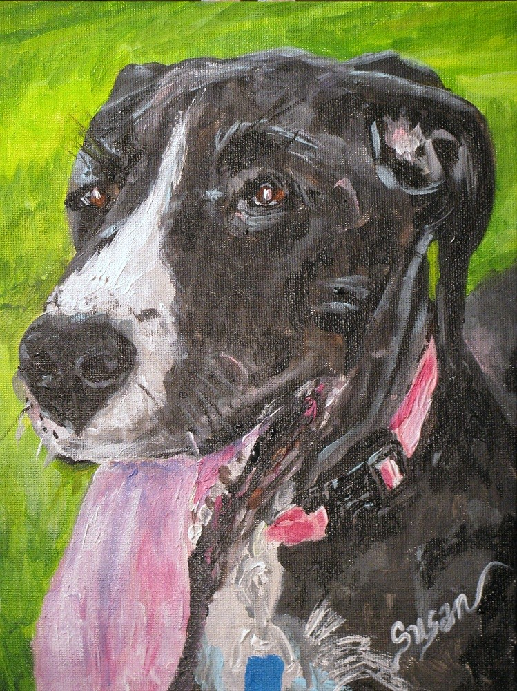 """Puppy Kisses"" original fine art by Susan Elizabeth Jones"