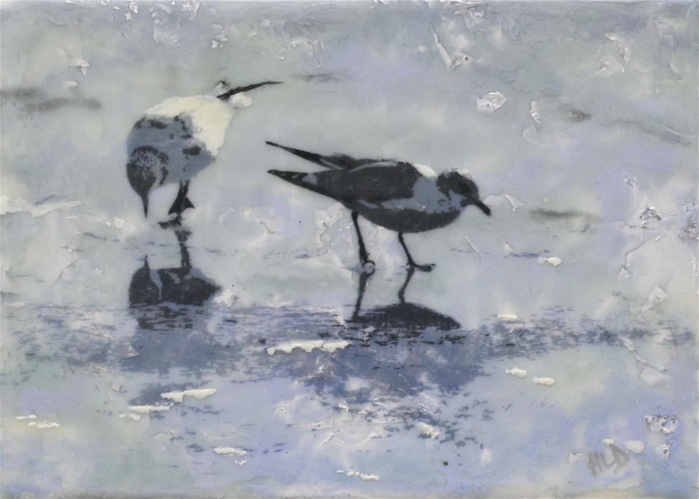 """2 Gulls On Ice"" original fine art by Heather Douglas"
