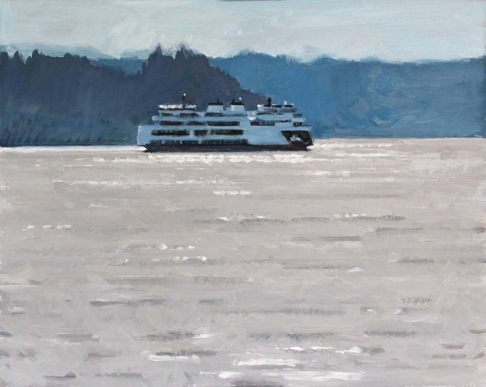"""Ferry on Sparkles"" original fine art by Gretchen Hancock"