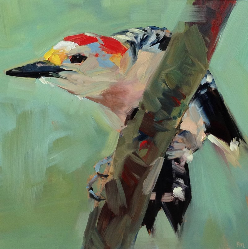 """Woodpecker Yoga Pose"" original fine art by Patti McNutt"