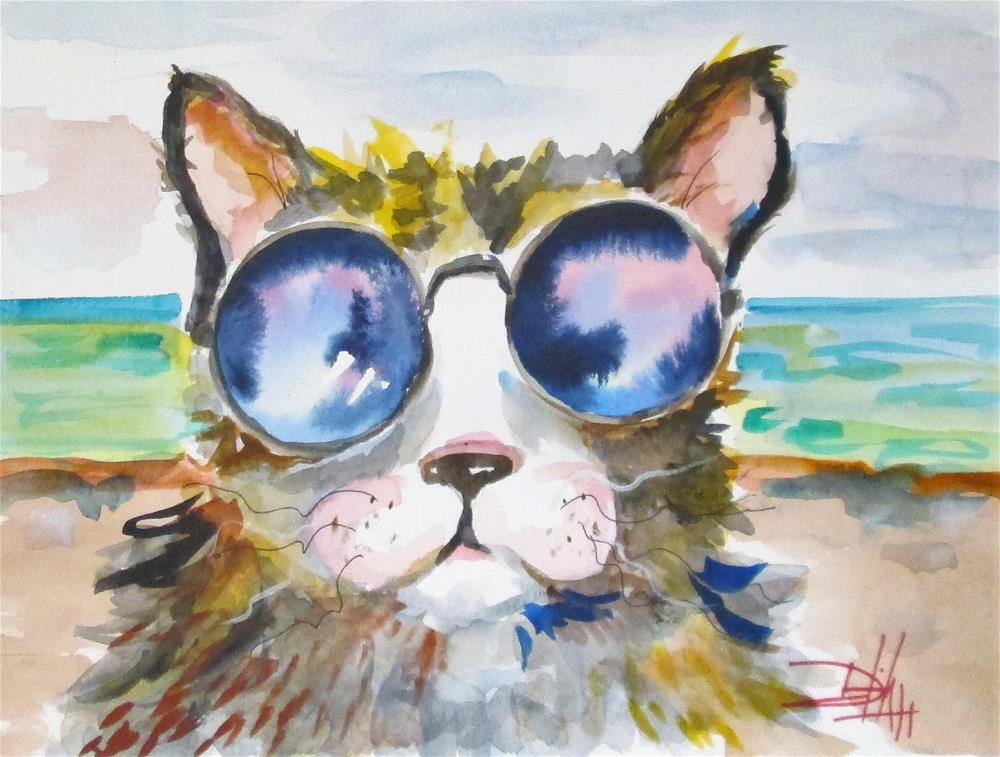 """Beach Cat"" original fine art by Delilah Smith"