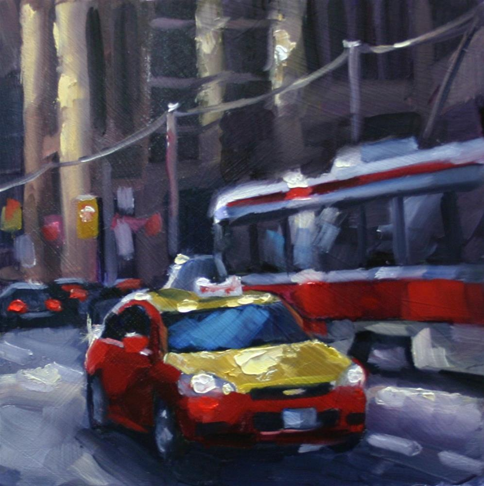 """Afternoon Traffic in Red and Gold"" original fine art by Catherine Jeffrey"