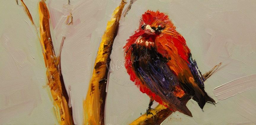 """""""ARTOUTWEST TANAGER BIRD ART Diane Whitehead fine Art"""" original fine art by Diane Whitehead"""