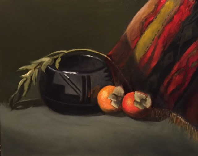"""Black Pottery with Persimmons"" original fine art by Cheryl J Smith"