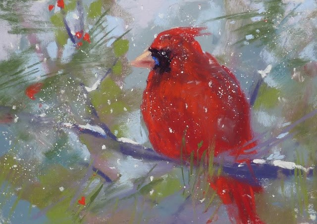 """Working With Red Pastels"" original fine art by Karen Margulis"