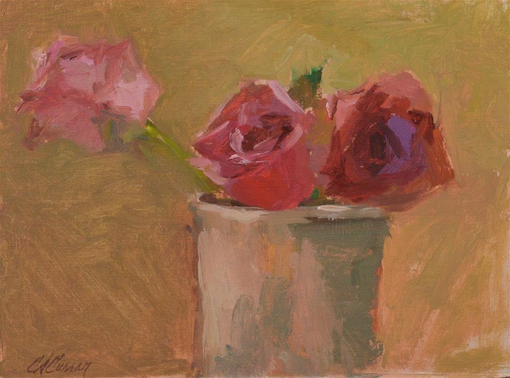 """Pink Roses"" original fine art by Cheryl A Curran"