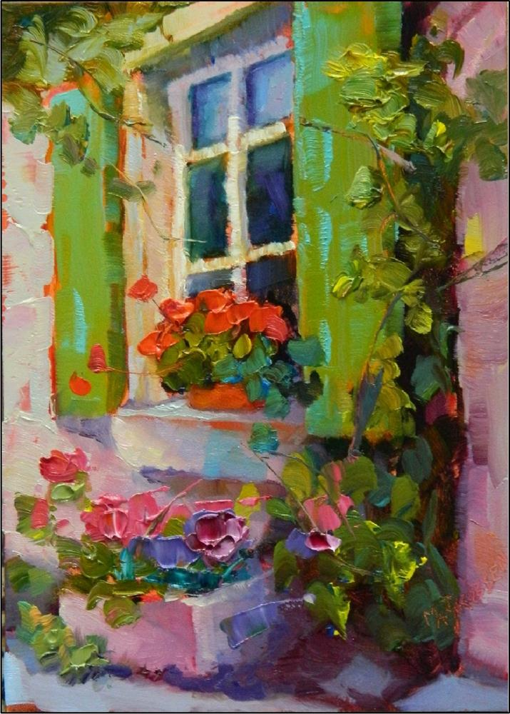 """Green Shutters"" original fine art by Maryanne Jacobsen"