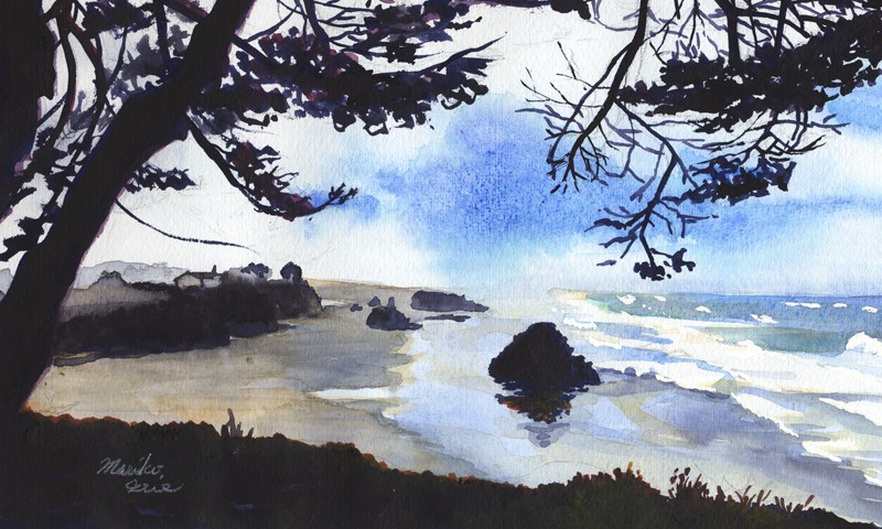"""Peeking Seaside Beach"" original fine art by Mariko Irie"