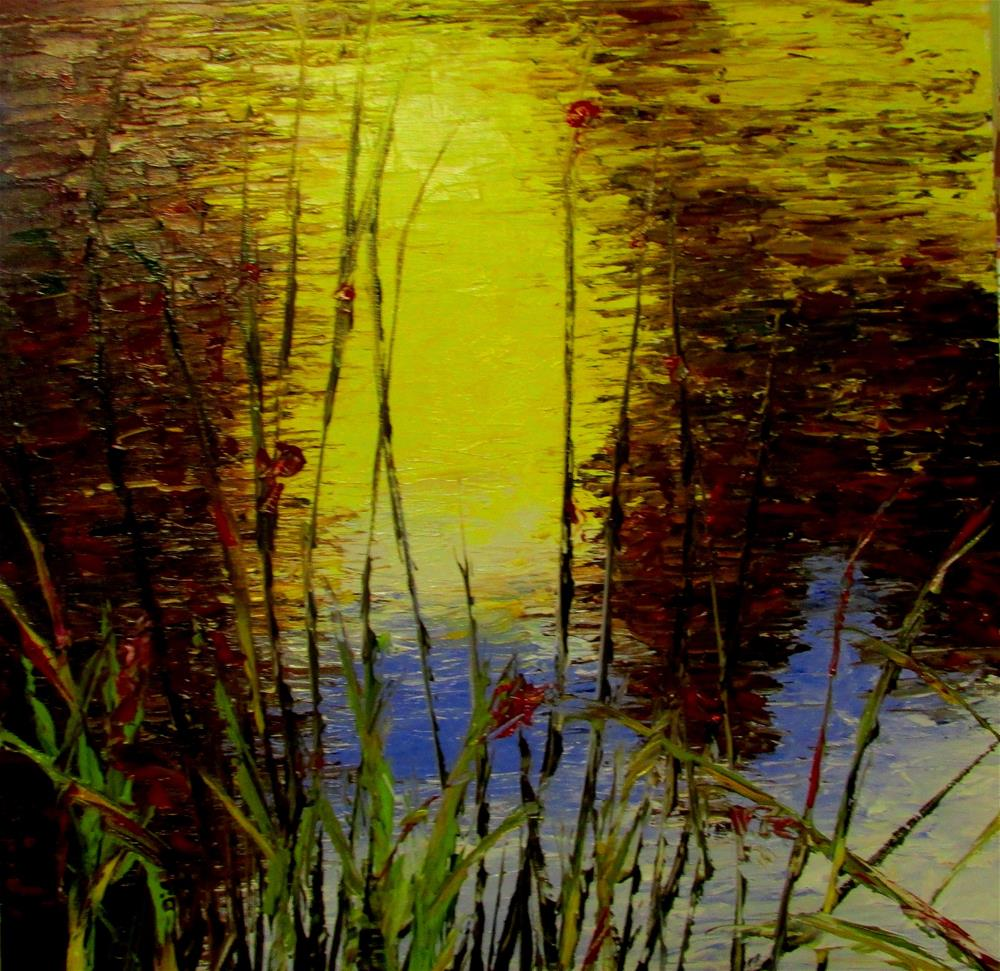 """12 x 12 inch oil Pond Reflections"" original fine art by Linda Yurgensen"