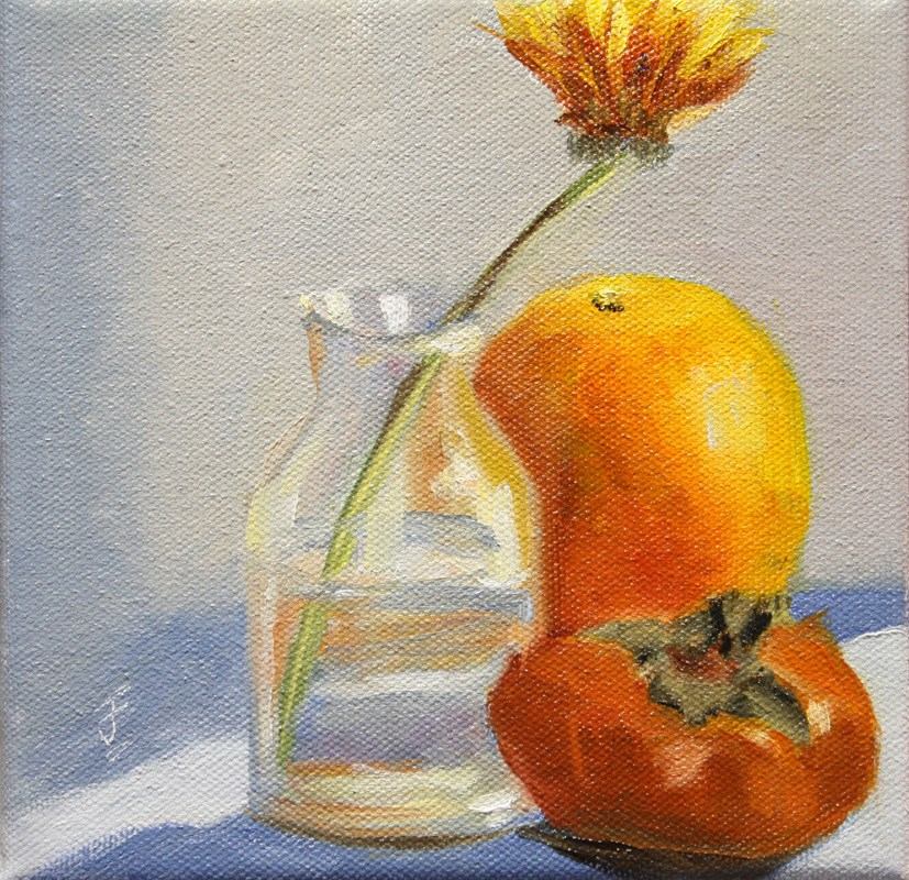 """My First Persimmon"" original fine art by Jane Frederick"