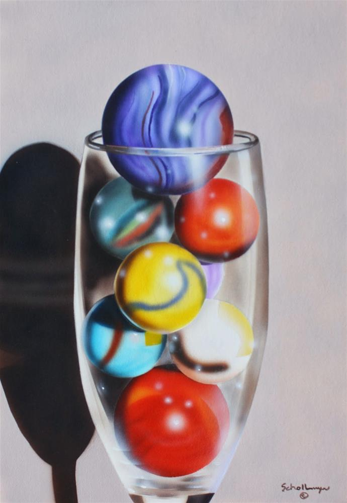 """Marbles in Champagne Glass"" original fine art by Fred Schollmeyer"
