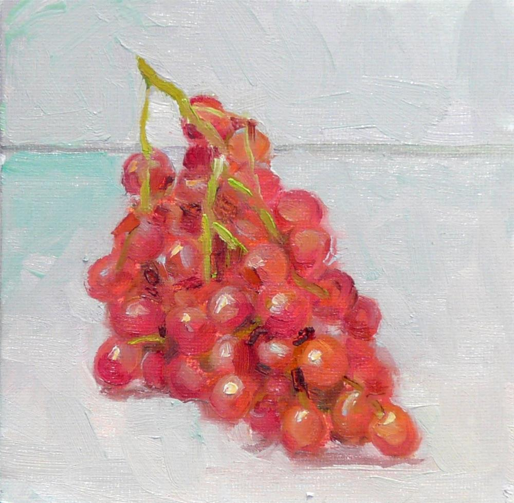 """More Redish Grapes,still life,oil on canvas,6x6,price$200"" original fine art by Joy Olney"