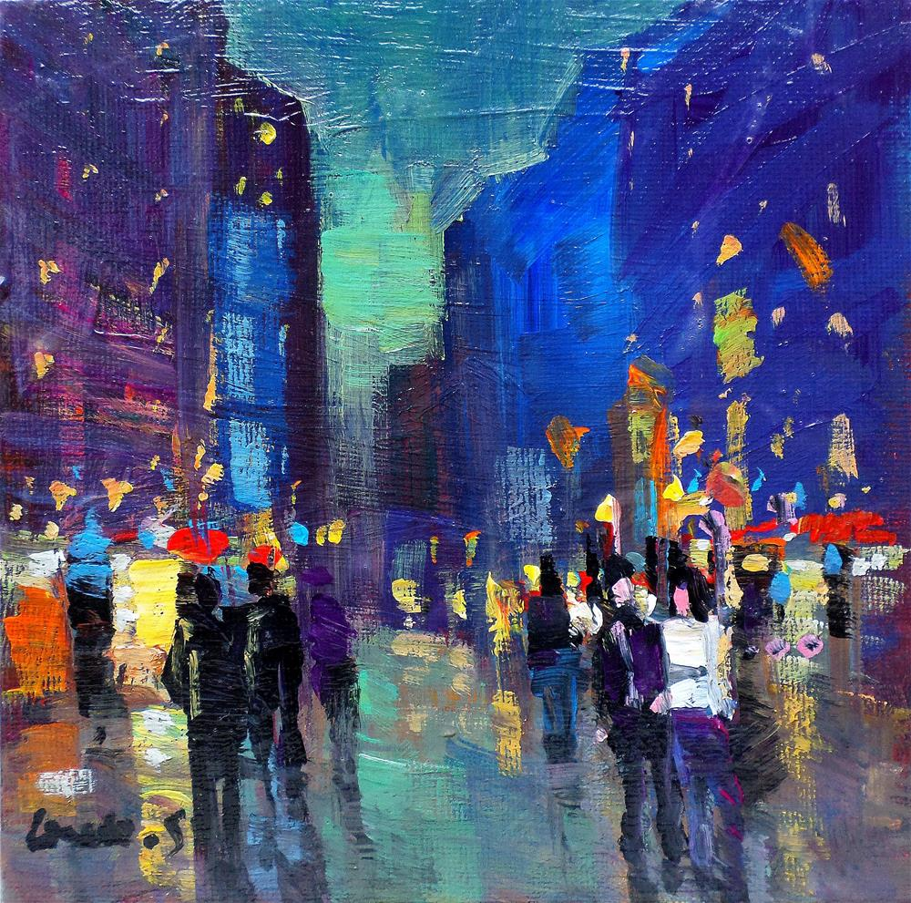"""Walk in the street..the nightnew york"" original fine art by salvatore greco"