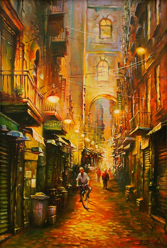 """Warm evening - Naples, Italy. Oil painting"" original fine art by Nick Sarazan"